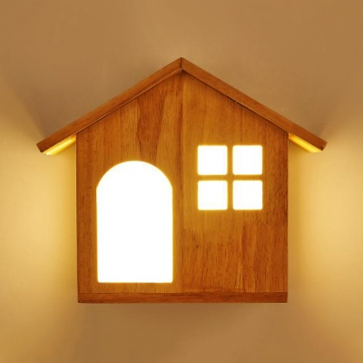 Children Bedroom House Design Wall Lamp Wood Decorative LED Wall Light Sconce