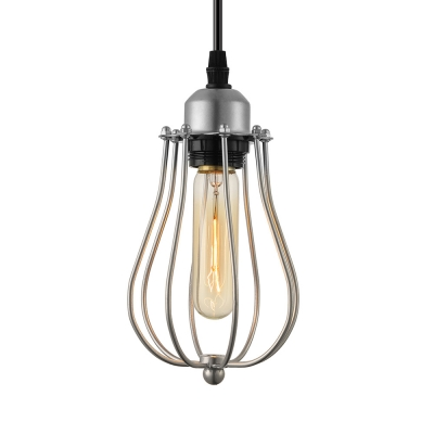 Metal Cage Pendant Light Industrial Single Hanging Light in Polished Chrome, 8