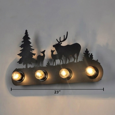 Black Linear Wall Mount Fixture with Deer and Pine Tree Metallic 4 Lights Wall Sconce for Restaurant