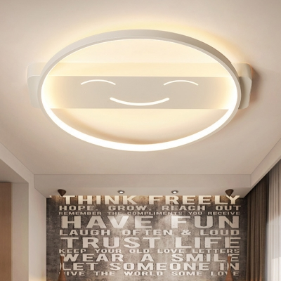 White Looped LED Ceiling Fixture Simple Concise Acrylic Flush Mount Lighting for Corridor Porch