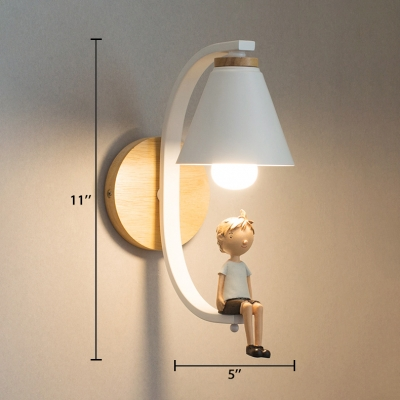 1 Light Curved Arm Wall Lamp with Resin Little Boy Modern Baby Kids Room Lighting Fixture in Black/White