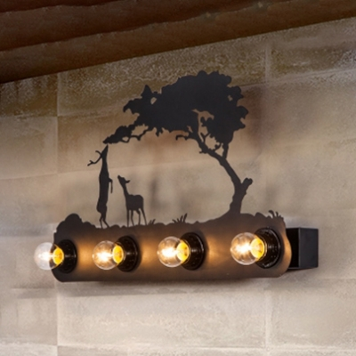 4 Lights Linear Wall Sconce with Animal Design Lodge Style Coffee Shop Metal Wall Light in Black