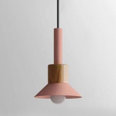 Flared/Dome Pendant Light Minimalist Colorful Metallic 1 Bulb Mini Suspended Light for Coffee Shop