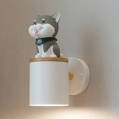 Black/White Cylinder Wall Light with Cartoon Dog Modern Metal Single Head Wall Mount Light for Kids