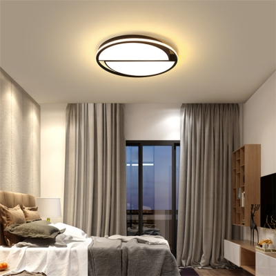 Double Half Round Flush Mount Nordic Style Living Room Bedroom Acrylic LED Ceiling Lamp in Black