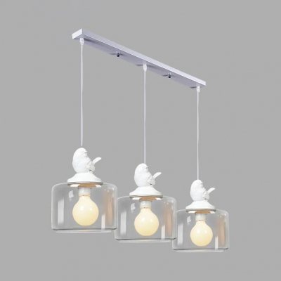 Linear Hanging Light with White Bird Decoration Dining Room Clear Glass Shade 3/5 Light Pendant Lamp