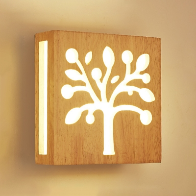Nordic Style Square Wall Light with Tree Design Staircase Hallway Wooden LED Sconce Lighting
