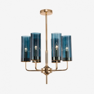 Contemporary Tubed Hanging Chandelier with Mediterranean Sea Glass Shade 6/10 Lights Suspension Light