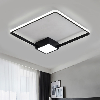 Acrylic Square Ring Led Lighting Fixture Simplicity Ultra Thin Ceiling Flush Mount In Black White Beautifulhalo Com
