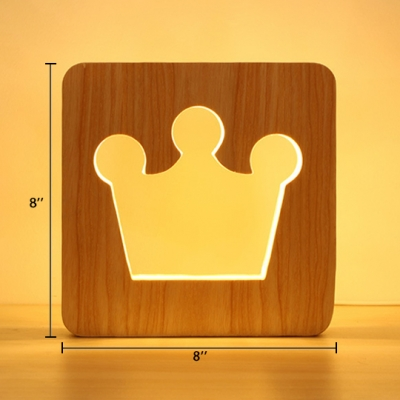 Hollow Out LED Standing Desk Light with Crown Wooden Table Lamp for Nursing Room Kindergarten