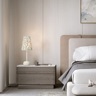 Plastic Tapered Table Light Contemporary Bedroom Bedside Single Light