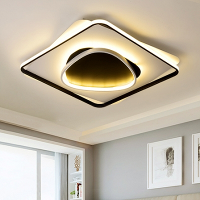 Ultra Thin Led Ceiling Light With Square And Ring Simplicity Metal