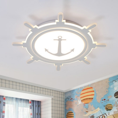 Acrylic Round Rudder Lighting Fixture with Anchor Design Children Room LED Flush Mount in White