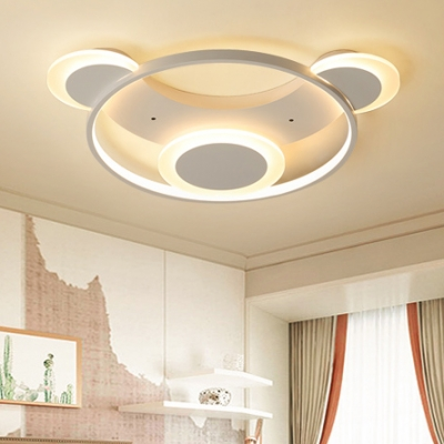 Creative Cartoon Bear Flush Mount With Ring Contemporary Baby Room Acrylic LED Flush Light In White - Beautifulhalo.com