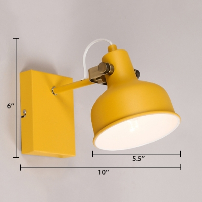 Colorful Modernism Domed Wall Lighting 1 Light Wall Sconce with Metal Shade for Children Room