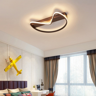 Acrylic LED Ceiling Fixture with Linear Canopy Minimalist Coffee/White Flush Mount for Living Room