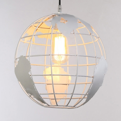Black/White Hollow Out Hanging Ceiling Lamp with Tellurion Metallic Single Head Suspension Light for Bedroom