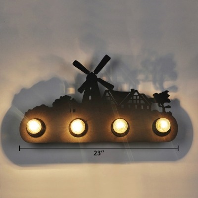 Open Bulb 4 Lights Wall Lamp Black Metallic Lighting Fixture with Windmill Decoration for Coffee Shop