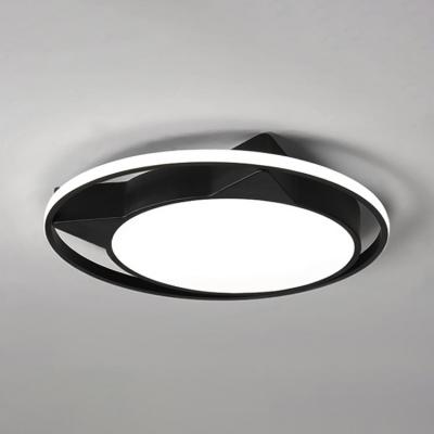Black/White Cartoon Cat Ceiling Lamp Nordic Style Acrylic Shade LED Flush Light Fixture for Nursing Room