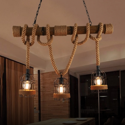 Industrial Multi Light Pendant Light Lantern Style with Rope Cage Frame, Wood Decoration
