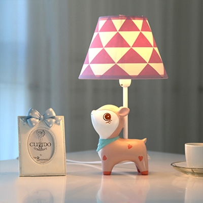 Lovely Fabric Shade Table Lamp With Deer Design White Finish 1 Head Standing Table Light For Girls Room Beautifulhalo Com