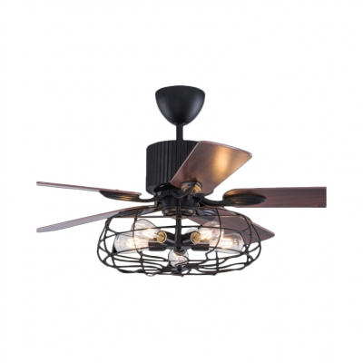 """5 Lights Caged Chandelier with Fan Country Style Metal Pendant Light in Black, 19.5""""H x 48""""W, HL452641"""