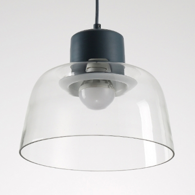 Macaron Modern Bowl Pendant Lamp Clear Glass Shade 1 Light Suspended Light for Children Bedroom