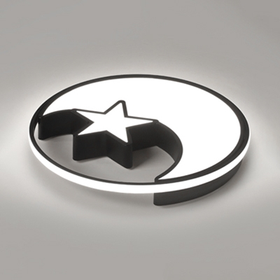 Acrylic LED Flush Mount with Moon and Star Black/White Decorative Lighting Fixture for Kindergarten