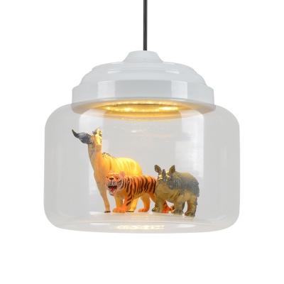 Bottle LED Hanging Light with Animal Decoration White Finish Clear Glass Suspension Light for Kindergarten