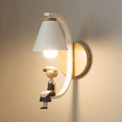 Black/White Cone Wall Light Metal One Light Wall Mount Light with Cute Girl for Children Room
