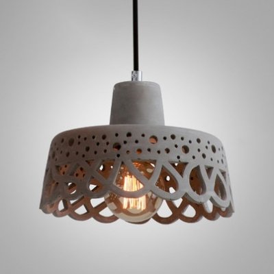 Hollow Out Suspension Light Modernism Concrete 1 Light Hanging Lamp in White/Paver Gray/Yellow
