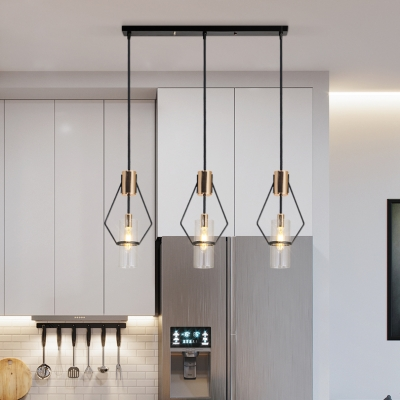 Geometric Frame Suspension Light with Tube Clear Glass Shade Minimalist Triple Lights Chandelier
