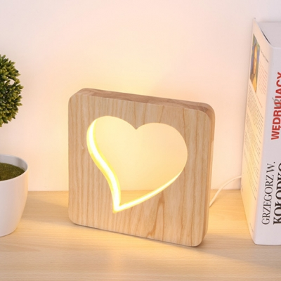 Modern Chic Loving Heart Table Lamp Boys Girls Bedroom Decorative Wooden LED Table Light