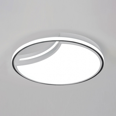 Black/White Crescent Flush Light Modern Acrylic Surface Mount LED Light for Restaurant Study Room