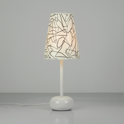 Plastic Tapered Table Light Contemporary Bedroom Bedside Single Light Standing Table Lamp in White