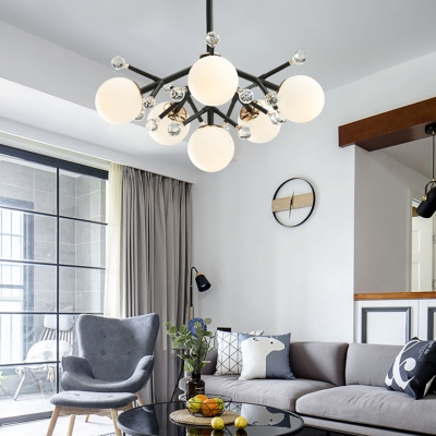 4/6/7 Lights Globe Chandelier Light Contemporary Frosted Glass Pendant Lamp with Clear Crystal Ball in Black