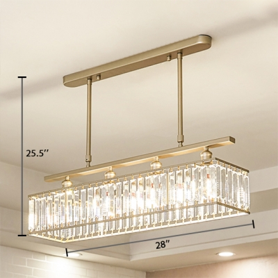 Rectangle Living Room Chandelier Metal 4 Lights Vintage Chandelier Light with Clear Crystal in Black/Gold
