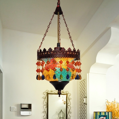 Antique Drum Hanging Lamp with Multi Color Crystal 1/3 Lights Metal Pendant Light in Rust