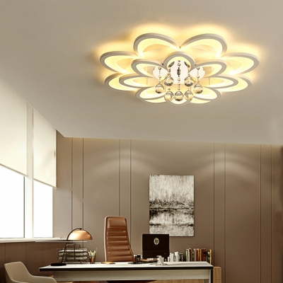 Bloom Hallway Flush Light Acrylic Contemporary LED Ceiling Fixture with Clear Crystal in White