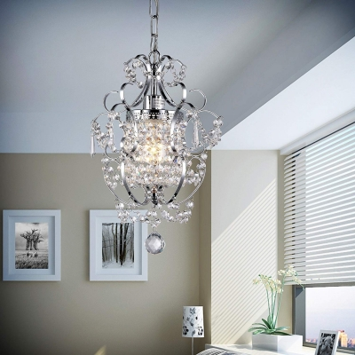Clear Crystal Foyer Light Fixtures 1 Light Modern Adjustable Hanging Chandelier with 19.5