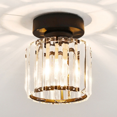 best service c0365 86fd4 Clear Crystal Mini Semi Flush Mount Lighting Single Light Modern Style