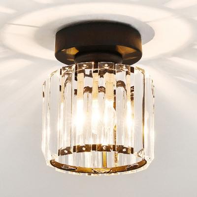 Clear Crystal Mini Semi Flush Mount Lighting Single Light Modern Style