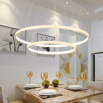 Contemporary Aluminum Halo Led Chandelier LED Warm White Light 1 Tier-5 Tier Multi Light Pendant Lighting in White for Foyer Hotel Dining Room