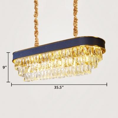Dining Room Round/Oblong Chandelier Clear Crystal Modernism Decorative Pendant Lighting