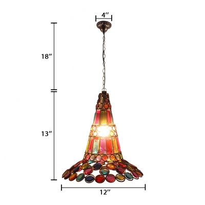 Flared Pendant Lighting Dinging Room Single Light Vintage Hanging Lamp with Colorful Crystal