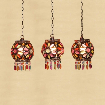 Globe Dinging Room Pendant Light with Round/Linear Canopy Colorful Crystal 3 Lights Hanging Light