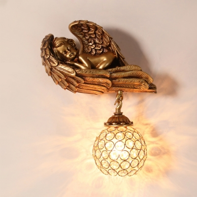 Gold Globe Wall Lamp Rustic Clear Crystal Sconce Light with Angle Decoration for Living Room