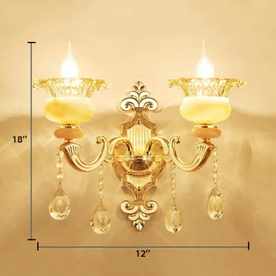 Indoor Floral Wall Lighting Fixture Glass and Jade 1/2 Lights Vintage Style Sconce Light with Clear Crystal