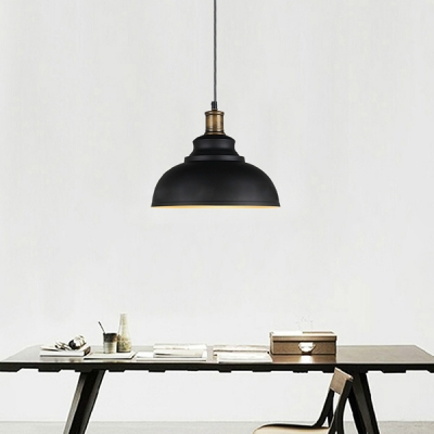 Industrial Pendant Light with 14.17''W Metal Shade in Black/White