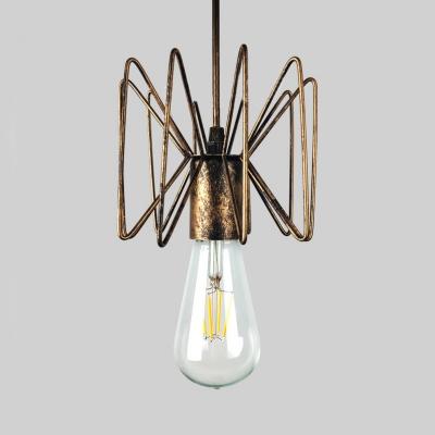 Industrial Wire Frame Pendant Lamp Height Adjustable Single Light Metal Overhead Lighting in Gold